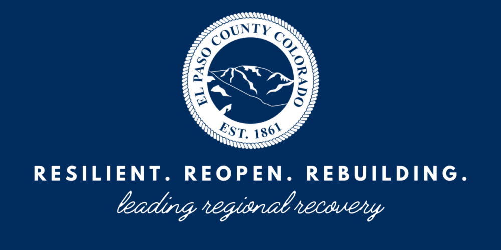 """An image of the El Paso County seal with text that reads """"Resilient. Reopen. Rebuilding. leading regional recovery"""""""